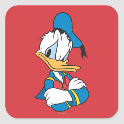 Square Sticker with Classic Angry Donald Duck  design