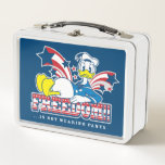 """Donald Duck   Freedom Metal Lunch Box<br><div class=""""desc"""">Donald Duck   Freedom!! …is not wearing pants. Check out this patriotic graphic of Donald exercising his freedom to not wear pants!</div>"""