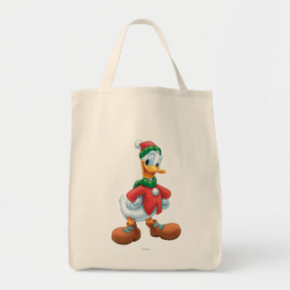 Donald Duck in Winter Clothes Grocery Tote Bag