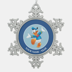Pewter Snowflake Ornament with Happy & Cute Donald Duck design