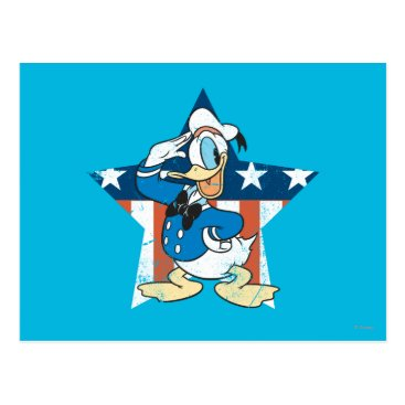 Disney Themed Donald Duck | Salute with Patriotic Star Postcard