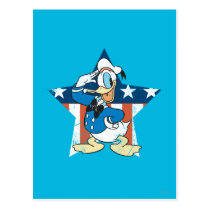 Donald Duck | Salute with Patriotic Star Postcard