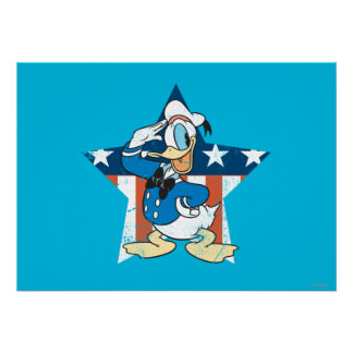 Donald Duck | Salute with Patriotic Star Poster