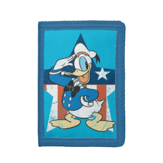 Donald Duck | Salute with Patriotic Star Tri-fold Wallet