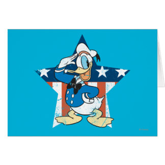 Donald Duck Salutes With Patiotic Star Greeting Card