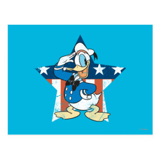 Donald Duck Salutes With Patiotic Star Postcard