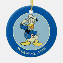 Circle Ornament with Retro Sailor Donald Duck design