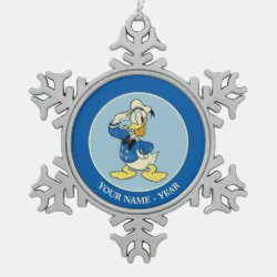 Pewter Snowflake Ornament with Retro Sailor Donald Duck design