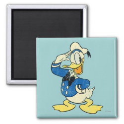 Square Magnet with Retro Sailor Donald Duck design