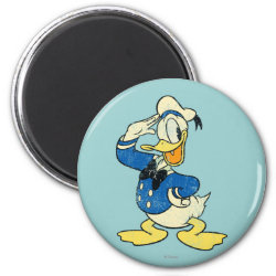Round Magnet with Retro Sailor Donald Duck design