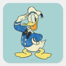Square Sticker with Retro Sailor Donald Duck design