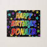"[ Thumbnail: ""Donald"" First Name, Fun ""Happy Birthday"" Jigsaw Puzzle ]"