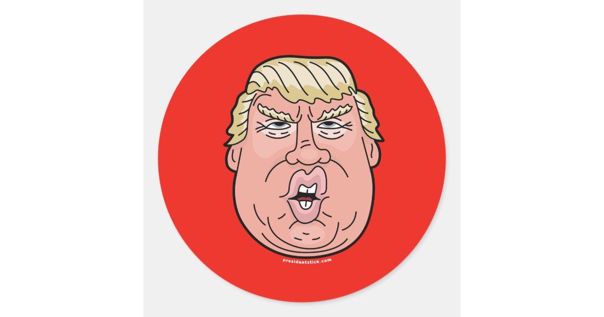 Donald J. Trump Cartoon Face Sticker   Zazzle