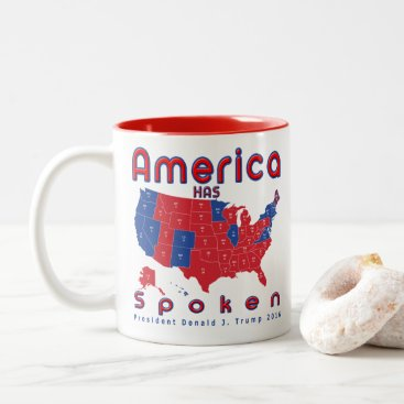 USA Themed Donald J. Trump Wins Red White Blue Coffee Cup Mug