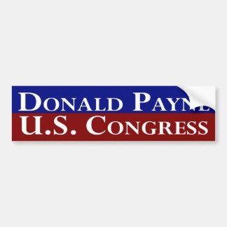 Donald Payne para el congreso de los E.E.U.U. Etiqueta De Parachoque