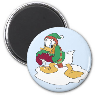 Donald Throwing a Snowball 2 Inch Round Magnet