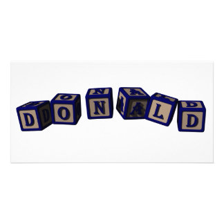 Donald Toy blocks in blue Personalized Photo Card
