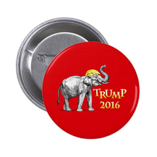 Donald Trump 2016 Campaign Elephant with Hair Button