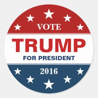 Donald Trump 2016 estrellas de la bandera de la Pegatina Redonda