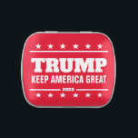 """Donald Trump 2020 election Keep America Great Candy Tin<br><div class=""""desc"""">Donald Trump for president 2020 election party favor Candy Tin Candy Tin with mints or jelly bean sweets. Make your own personalized party favor candy box for voters, attendees, guest, volunteers and more. Support the republican campaign. Also great as little thank you present or keepsake. Patriotic design with stars. Customizable...</div>"""