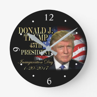 Donald Trump 45th President Inauguration Keepsake Round Clock