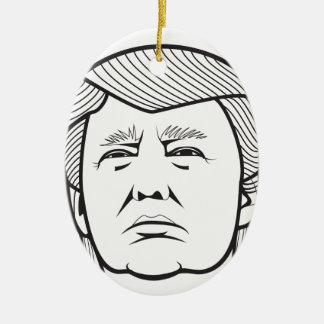 Donald Trump Adorno Navideño Ovalado De Cerámica
