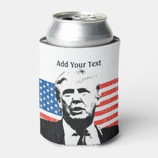 Donald Trump American Flag Custom Text Can Cooler