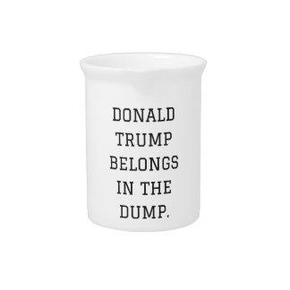 Donald Trump Belongs In The Dump Humor Collection Drink Pitcher