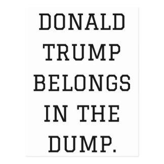 Donald Trump Belongs In The Dump Humor Collection Postcard
