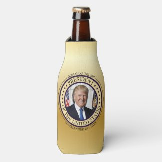 DONALD TRUMP COMMANDER IN CHIEF GOLD PRESIDENTIAL BOTTLE COOLER