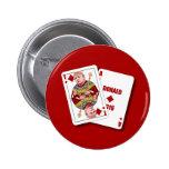 Donald Trump como tarjetas de la veintiuna para el Pin Redondo De 2 Pulgadas