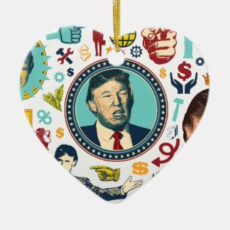 Donald Trump divertido Adorno Navideño De Cerámica En Forma De Corazón