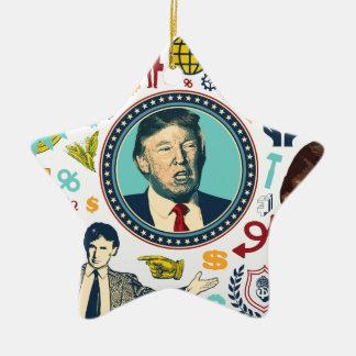 Donald Trump divertido Adorno Navideño De Cerámica En Forma De Estrella