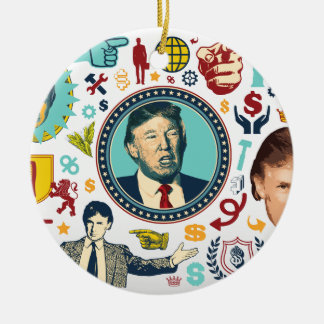 Donald Trump divertido Adorno Navideño Redondo De Cerámica