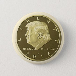 Donald Trump Double Eagle Gold coin Pinback Button