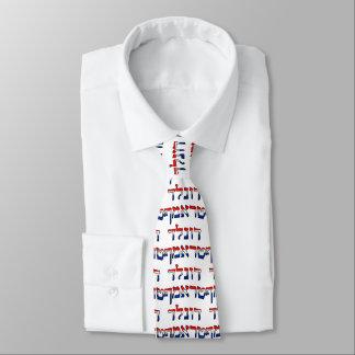 Donald Trump en hebreo del rojo, blanco y azul Corbatas Personalizadas