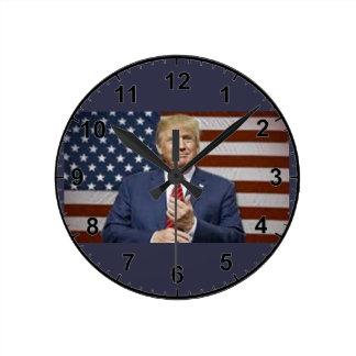 Donald Trump Flag Round Clock