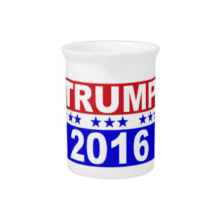 Donald Trump For President 2016 red white and blue Pitchers