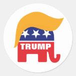Donald Trump Hair GOP Elephant Logo Classic Round Sticker