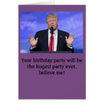 "Donald Trump ""huge party"" birthday card"