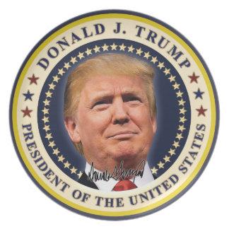 Donald Trump Inauguration Gold Stars Souvenir Melamine Plate