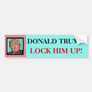 """DONALD TRUMP. Lock him up!"" and Trump in prison Bumper Sticker"