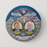 "Donald Trump & Mike Pence Jugate Photo Blue 2020 Button<br><div class=""desc"">A vintage campaign design for the Republican ticket in the 2020 Presidential election. This intricate design is based off of collectible campaign pins from the late 1800s and early 1900s. Artwork designed by Amy Marsh at the Button Deli, this detailed design includes photos of both Trump and Pence -- plus...</div>"