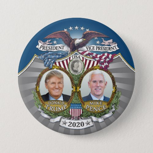 Donald Trump  Mike Pence Jugate Photo Blue 2020 Button
