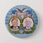 """Donald Trump &amp; Mike Pence Jugate Photo Blue Design Pinback Button<br><div class=""""desc"""">A vintage campaign design for the Republican ticket in the 2016 Presidential election.</div>"""