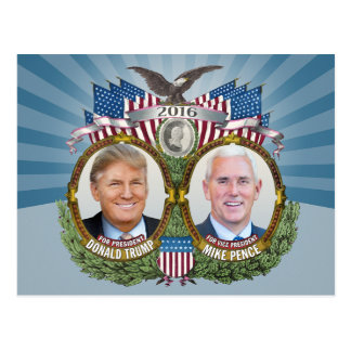 Donald Trump & Mike Pence Jugate Photo Blue Design Postcard