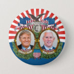 "Donald Trump &amp; Mike Pence Jugate Photo Red Blue Button<br><div class=""desc"">A vintage campaign design for the Republican ticket in the 2016 Presidential election.</div>"