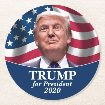 Donald Trump Photo American Flag - President 2020 Round Paper Coaster