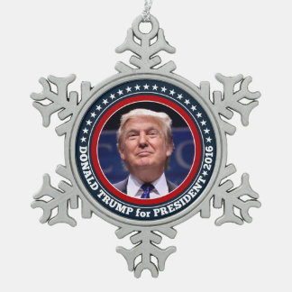 Donald Trump Photo - President 2016 Snowflake Pewter Christmas Ornament