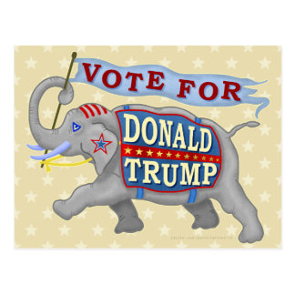 Donald Trump President 2016 Republican Elephant Postcard